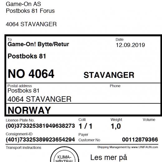 Bestill en returlapp! GameOn Game On! Game On! Norges
