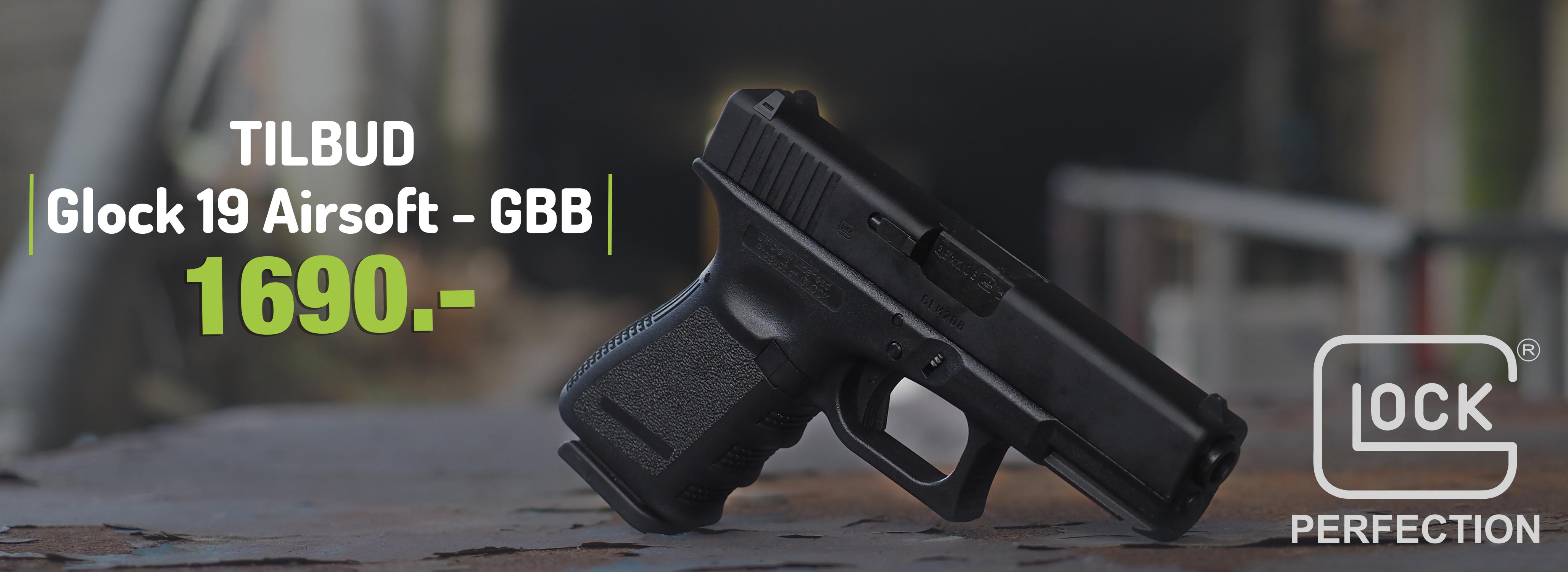 Glock 19 - Gass softgun med blowback